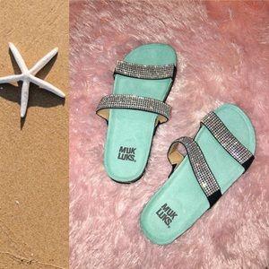 Muk Luks Rhinestone Slide Sandals